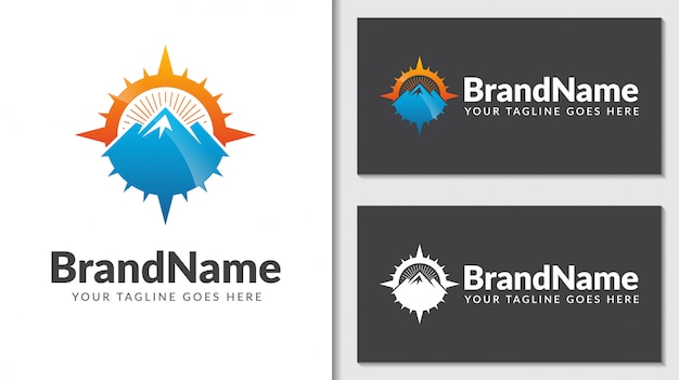 Mountain compass concept logo icontemplate