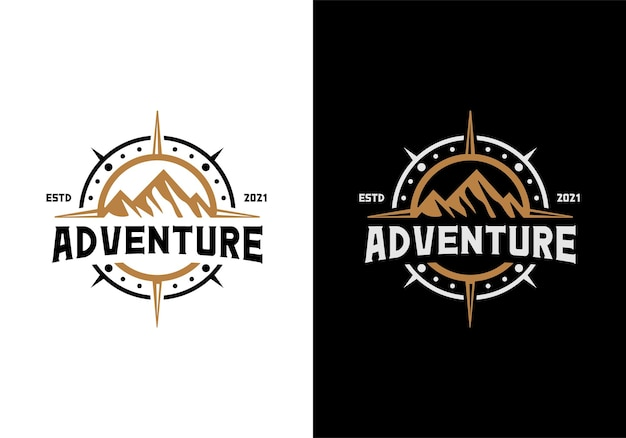 Mountain and compass. outdoor, adventure, journey logo design template inspiration