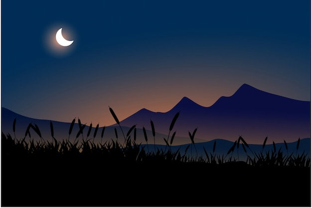 Mountain and crescent moon