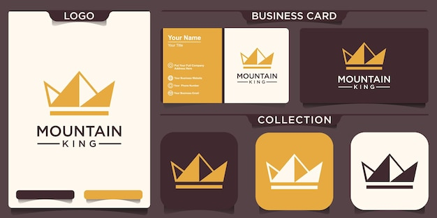 マウンテンクラウンのロゴデザイン。キングピーク生産ロゴベクトル。