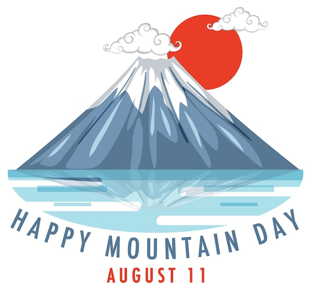 Mountain day on august 11 banner with mount fuji and red sun