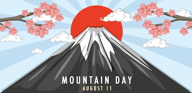 Mountain day in august 11 banner with mount fuji and sun rays