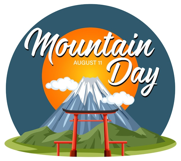 Mountain day banner on august 11 with mount fuji