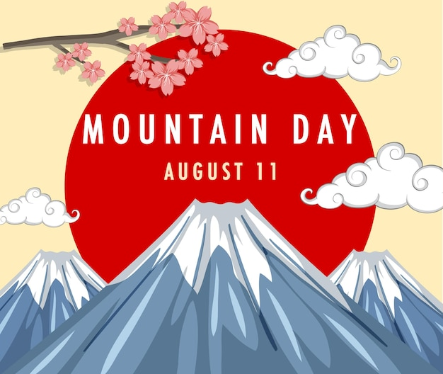 Баннер дня горы с горой фудзи и красным солнцем