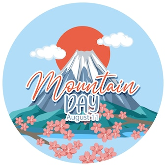 Mountain day banner with mount fuji and red sun