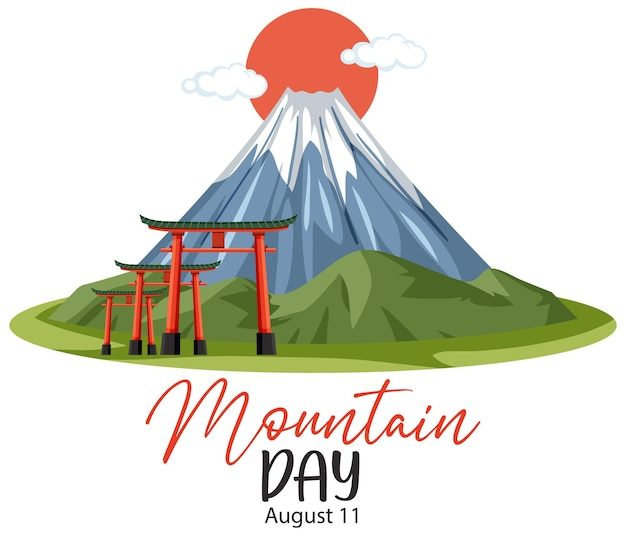 Mountain day in japan on august 11 banner with mount fuji
