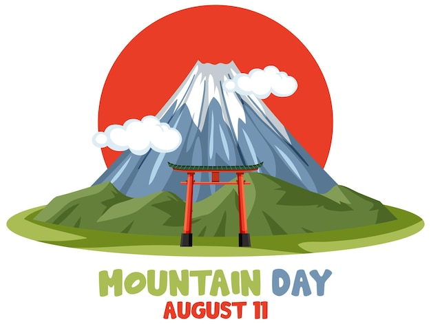 Mountain day in japan banner with mount fuji and red sun