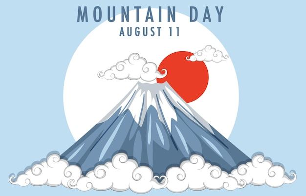 Mountain day in japan banner with mount fuji