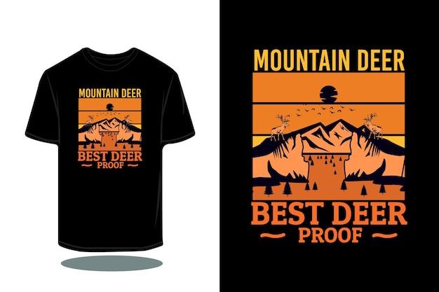 Mountain deer silhouette retro t-shirt design