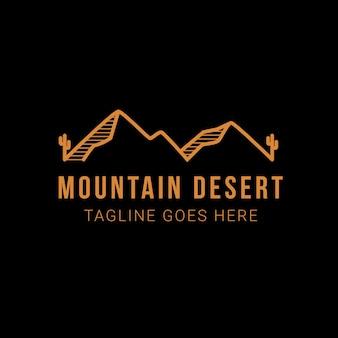 선인장 로고 템플릿이 있는 산 사막 풍경. 사막 로고 디자인의 야외 모험