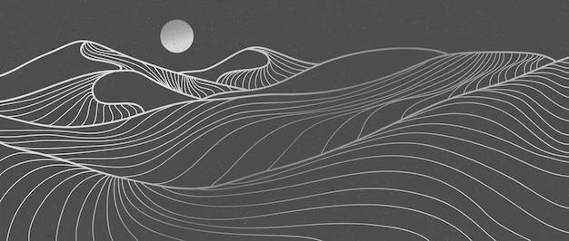 산 사막 라인 아트 인쇄. 추상 산 현대 미적 배경 풍경