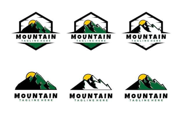 Шаблон логотипа горный дизайн