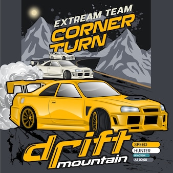 Mountain drift cars, vector car illustrations