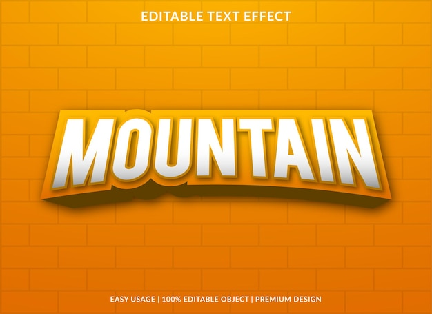 Mountain editable text effect with modern and abstract style
