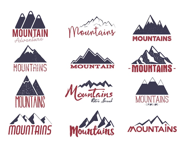 Mountain emblems set. vintage hand drawn adventure logos. camping labels collection. stock vector patches isolated on white background.