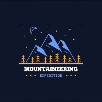 Значок горной экспедиции. линия иллюстрации. восхождение, треккинг, пеший туризм эмблема