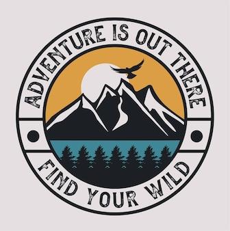 引用アドベンチャー付きの山岳探検バッジがあります