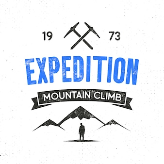 Mountain expedition label with climbing symbols and type design - mountain climb. vintage letterpress style logo isolated on white