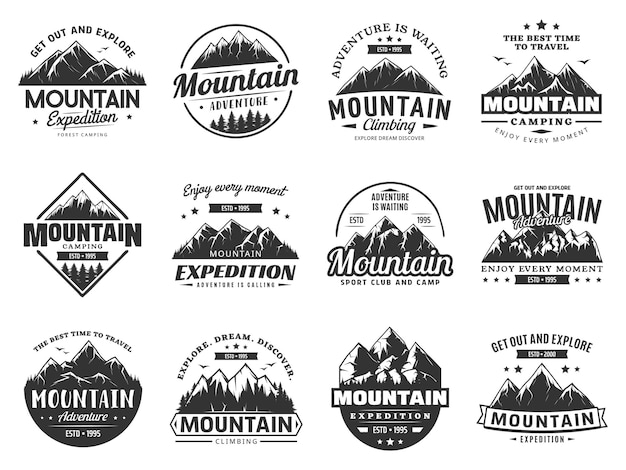 Mountain expedition and rock climbing icons