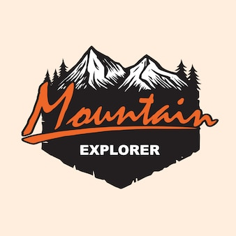 Mountain explore logo design vector template