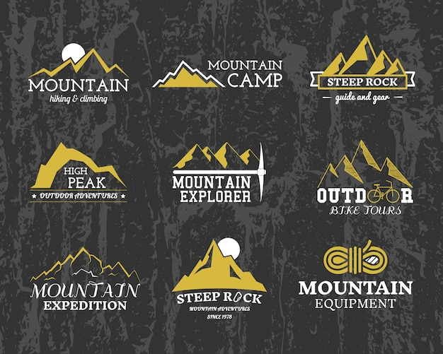 Mountain explorer logos, camp badges templates collection. travel, hiking, climbing style. outdoor.