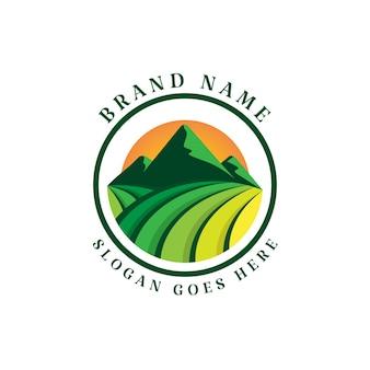 Mountain and farm vector logo template