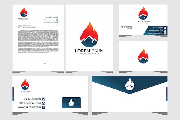 Дизайн логотипа горного огня с помощью канцелярских товаров