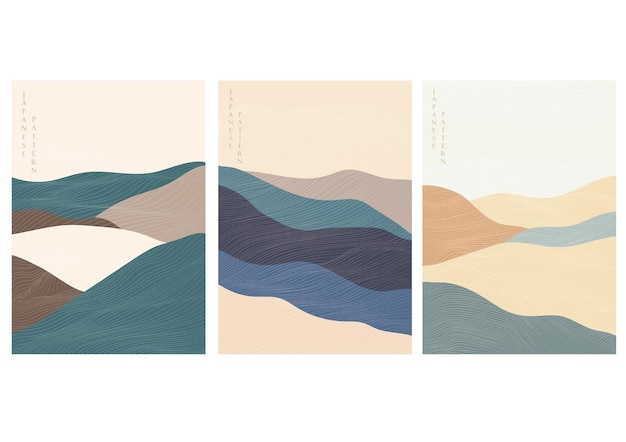 Mountain forest background with abstract landscape template vector. line pattern with curve banner.