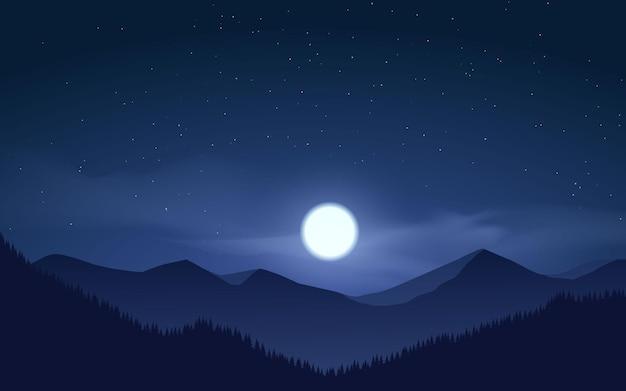 달빛이 있는 산 숲의 밤