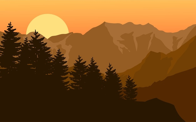 Mountain forest silhouette landscape on sunset