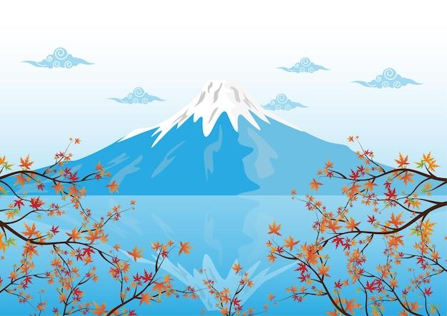 Mountain fuji, famous landmarks of japan with maple leaf vector illustration.