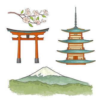 Гора фудзи в японии.