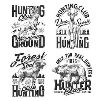シロイワヤギ、鹿、ワピチ、ハイイログマのtシャツプリント