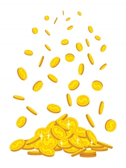 Mountain of gold coins fall, flat cartoon style. golden coins pile heap. bank currency shining sign flying in air