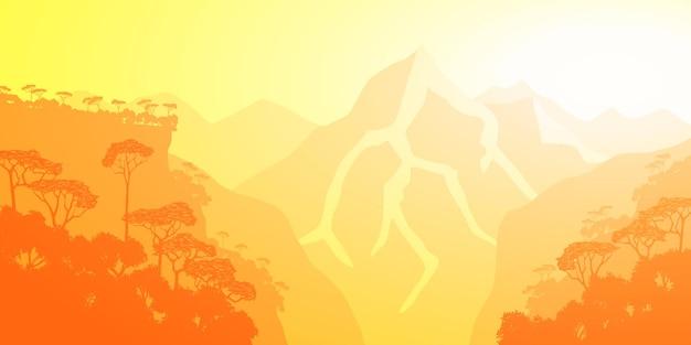 Горное ущелье в утреннем свете, тропический лес