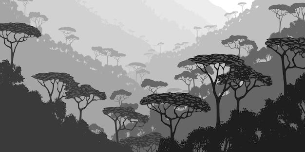 Горное ущелье с тропическим лесом, черно-белый пейзаж