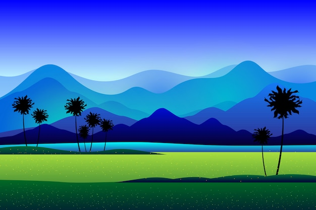 Mountain and green rice field background