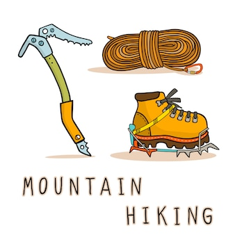 Mountain hiking equipment icons set