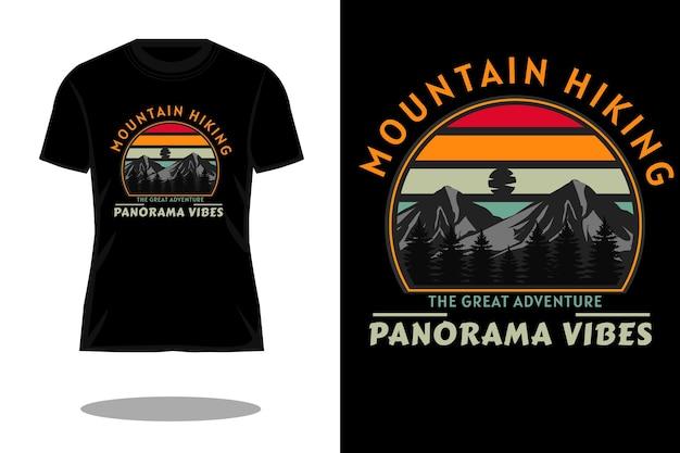 マウンテンハイキングレトロなシルエットのtシャツのデザイン