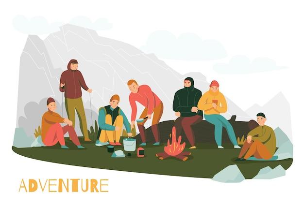 登山者がキャンプの火を始めて丘陵地帯で立ち止まると、山のハイキングツアーは平らな構図を冒険します