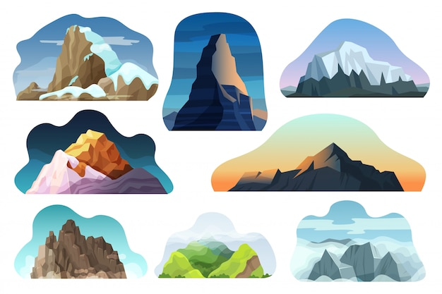 Mountain hill landscape  illustration set, cartoon different nature high rock, peak with clouds icons isolated on white