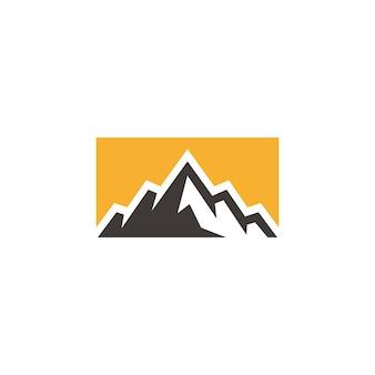 Mountain hill peak badge for outdoor adventure logo design