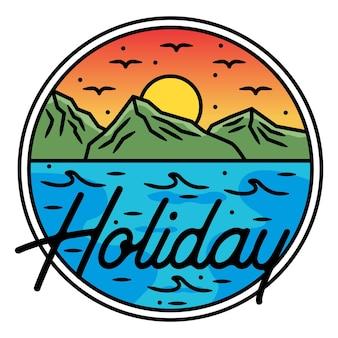 산 휴가 monoline 야외 배지 디자인