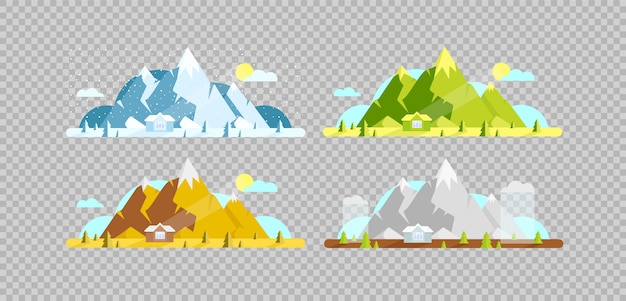 Mountain and house flat color objects set
