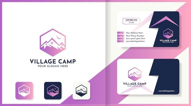 Mountain house hexagon logo design use line art concept and business card