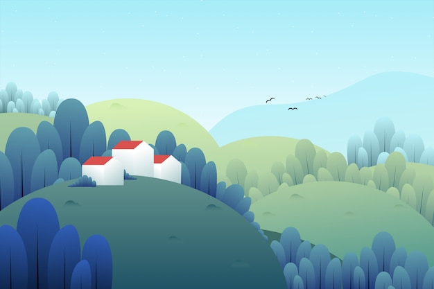 Mountain and house landscape illustration