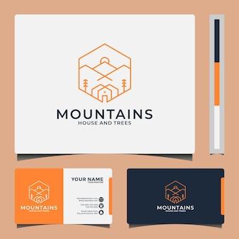 あなたの旅行、別荘、冒険会社のための山の家のロゴデザインラインアートスタイル