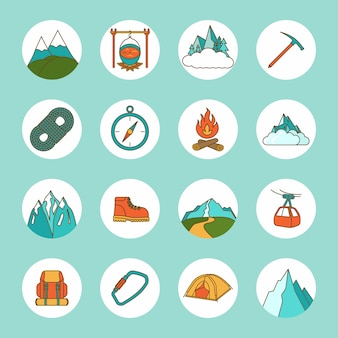 Mountain icons flat set with rope compass camping rock isolated vector illustration