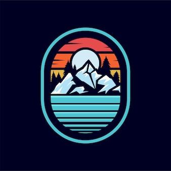山のイラストアウトドアアドベンチャーtシャツやその他の用途のベクトルグラフィック