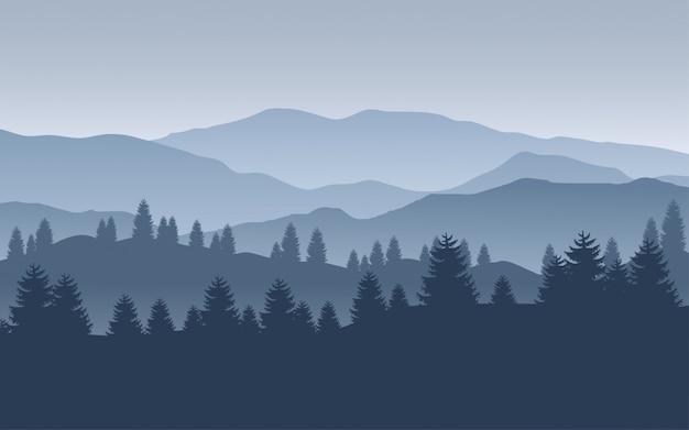 Горная иллюстрация с сосновым лесом